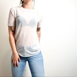 Wilfred Free Sheer White Short Sleeve Tee Shirt